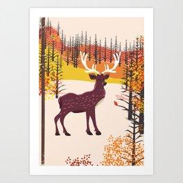 Stag in the wilderness vintage illustration Art Print