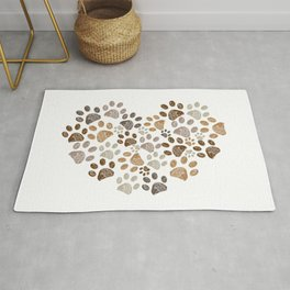 Made of heart doodle brown paw print Rug