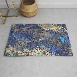 Blue Gold Animal Print Rug
