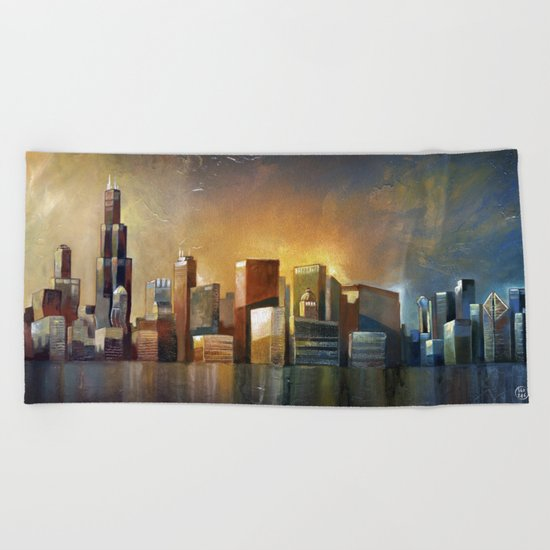 Chicago Sunrise Beach Towel