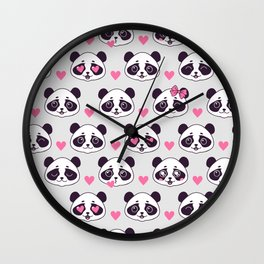 Cute pattern with panda. Wall Clock