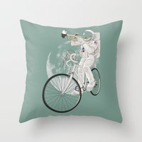 louis armstrong Throw Pillows featuring armstrong by mauro mondin