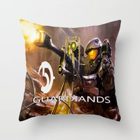 guardians Throw Pillows featuring Halo5 Guardians by store2u