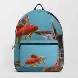 Deer with goldfishes swimming around Backpack