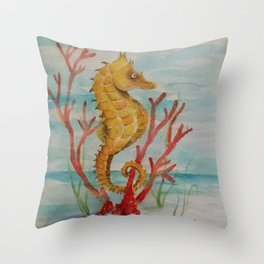 Salty Seahorse in Coral Reef  Throw Pillow