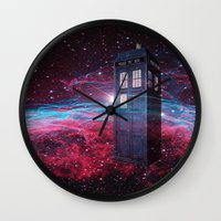 dr who Wall Clocks featuring Dr Who police box  by store2u