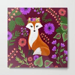 Fox in Flowers Metal Print