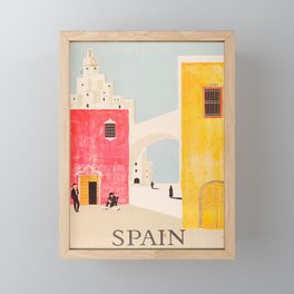 Spain Vintage Travel Poster Mid Century Minimalist Art Framed Mini Art Print