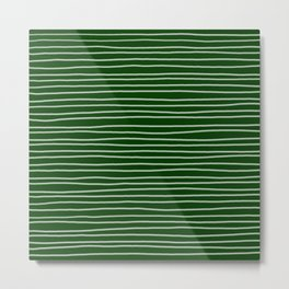 Forest Green Pinstripes Metal Print