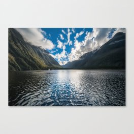 Dramatic clouds in the morning at Milford Sound Canvas Print