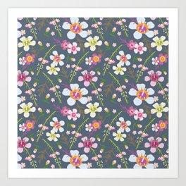 Tiara Flower Blue Art Print
