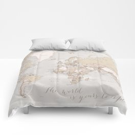 """The world is yours to explore, rustic world map with cities, """"Lucille"""" Comforters"""