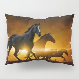 Wild Black Horses Pillow Sham
