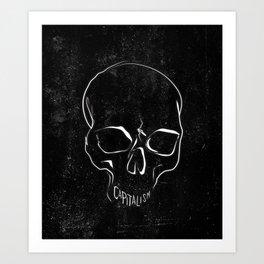 Anti Capitalism Black Skull Political Art Print Art Print