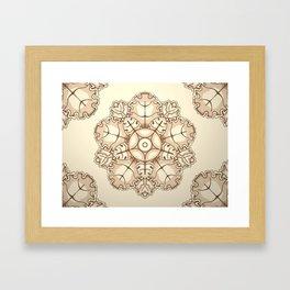 Beige elegant ornament fretwork Baroque style Framed Art Print