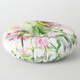 Baltimore Oriole and Garden Flowers Floor Pillow