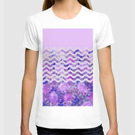 Geometrical lilac pink watercolor tropical floral T-shirt