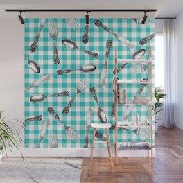Utensils on Turquoise Picnic Blanket Wall Mural