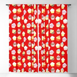 Dark Red Valentines Cup Cakes Blackout Curtain