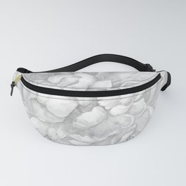 Large Gray on Grey Peony Watercolor Fanny Pack