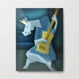 Old Guitarist Unicorn V02 Metal Print