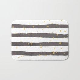 Modern gray yellow white watercolor splatters stripes Bath Mat