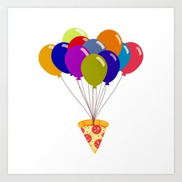 Pizza with Balloons Art Print