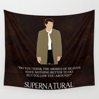 castiel Wall Tapestries featuring Supernatural - Castiel by MacGuffin Designs