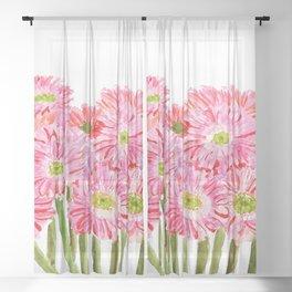 Pink Gerbera Daisy watercolor Sheer Curtain