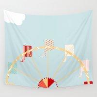 ferris wheel Wall Tapestries featuring Ferris Wheel by 0720mandy