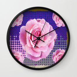 SHABBY CHIC PINK GARDEN ROSES PURPLE ART Wall Clock