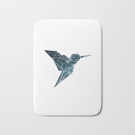 Geometric Hummingbird, Blue Hummingbird Art Bath Mat