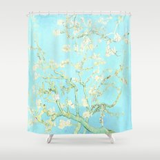 Vincent Van Gogh : almond blossoms Aqua Blue Shower Curtain