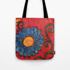 batik butterflies and flowers on red 2 Tote Bag