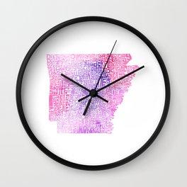 Typographic Arkansas - Pink Watercolor map Wall Clock