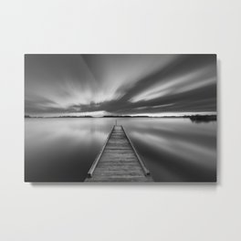 Jetty on a lake in black and white Metal Print