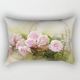Basket of Pink Roses Rectangular Pillow
