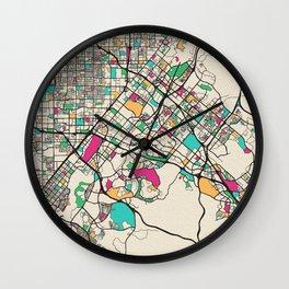 Colorful City Maps: Irvine, California Wall Clock