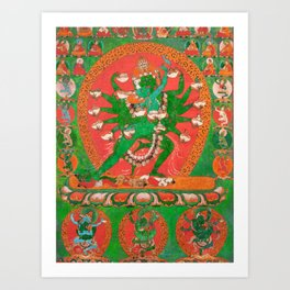 Hevajra Yidam Vajrayana Buddhism Emerald Art Print