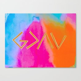 God Is Greater - Tie Dye Canvas Print
