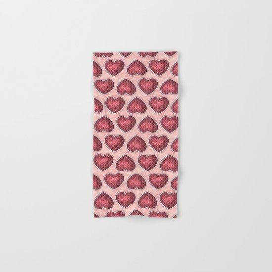 Wine Colored Hearts Hand & Bath Towel