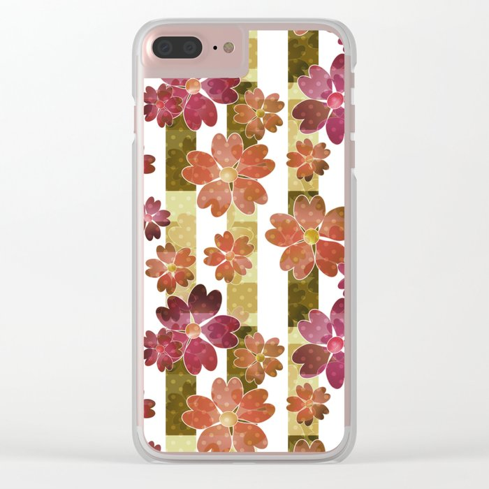 Retro . Floral pattern in yellow and brown tones . Clear iPhone Case