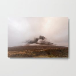 Buachaille Etive Mòr mountain covered in clouds Metal Print