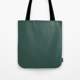 Black and Lucite Green Polka Dots Tote Bag