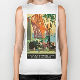 Scottish Railway Travel Poster, The Forth Bridge, East Coast Route Biker Tank