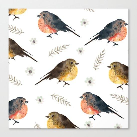 Watercolor birds Canvas Print