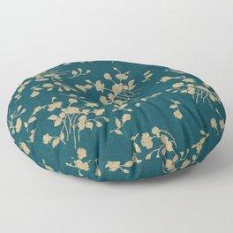 Gold Green Blue Flower Sihlouette Floor Pillow