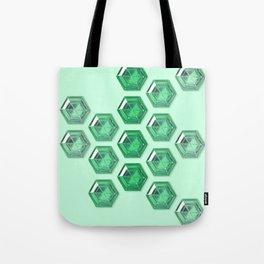 Green Gradient Hexagon Gemstones Tote Bag