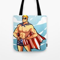 steve rogers Tote Bags featuring Steve by zombietonbo