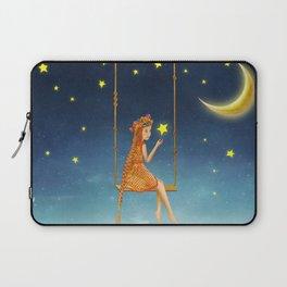 The lovely girl shakes on a swing , illustration art Laptop Sleeve